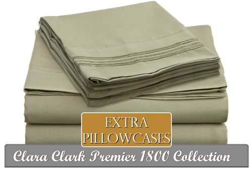 Clara Clark ® Premier 1800 Collection 6 Piece Bed Sheet Set, Includes Extra Pillowcases, King Size, Sage Olive Green front-988423