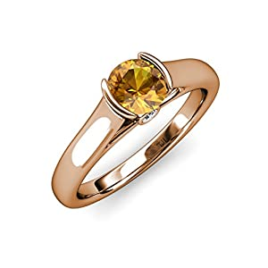 Citrine and Diamond Solitaire Plus Engagement Ring 1.03 ct tw in 14K Rose Gold.size 9