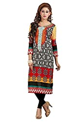 Clickedia Women's Cotton A-line Kurti (floral yellow kurti_Yellow_Free Size)