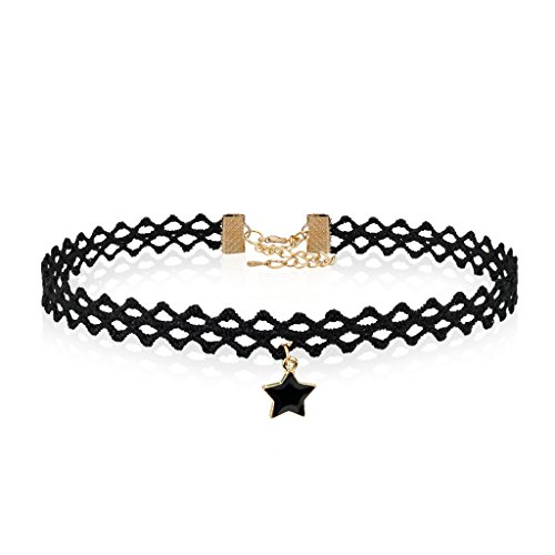 Lace Choker Collar Necklaces With Pendant Gothic Star Pentagram Charm Sexy Black Tattoo For Women