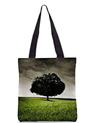 Snoogg Single Tree On Hill Poly Canvas Tote Bag
