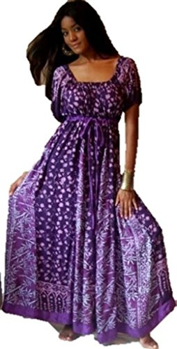 Lotustraders Peasant Dress Empire Inset Short Sleeve Batik Purple 5X B582