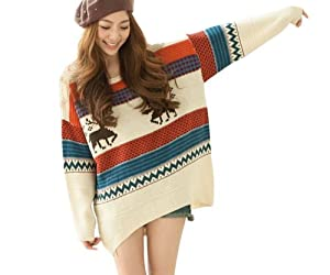 Lanvibum Fawn Colored Stripe Loose Xmas Sweaters Womens,one size