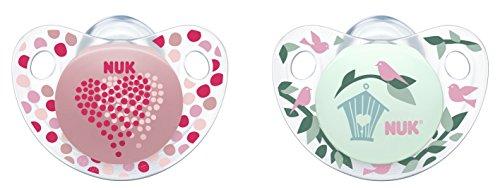 NUK 10177074 Trendline Silikon-Schnuller, Größe 3, 18-36 Monate, kiefergerechte Form, BPA frei, 2 Stück, Girl