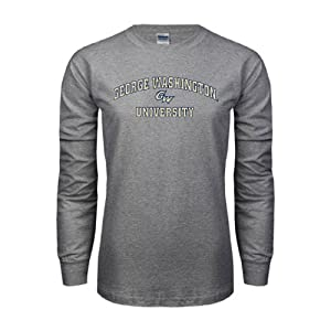 George Washington Grey Long Sleeve TShirt 'Arched George Washington University' - M