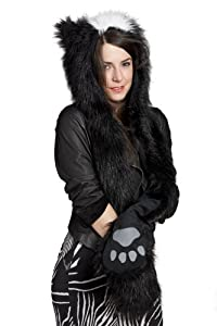 Faux Fur Animal Winter Snow Ski Hats Hoods Skunk with Mittens Unisex Gloves Scarf with Paws
