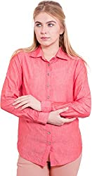TightHugs Women's Regular Fit Shirt ( 8855674-RED_L, Red, Large)