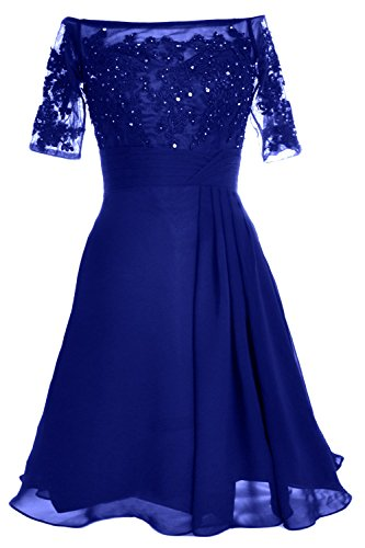 MACloth Women Off Shoulder Lace Short Sleeve Cocktail Dress Wedding Evening Gown (20w, Royal Blue) (Fancy Dress Xxxl)
