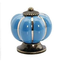 Iseebiz® Pumpkin Ceramic Cabinet Drawer Door Pull Knobs Handle (10pcs Multicolor) (blue)