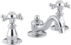 KOHLER K-108-3-CP Antique Widespread Lavatory Faucet, Polished Chrome