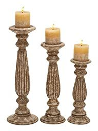 Deco 79 Wood Candle Holder, Mocha, 18 by 15 by 12-Inch