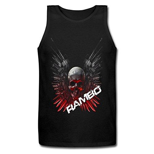 LianJian Rambo Vintage Classic Skull Logo Men's T-Shirt XX-Large Black Tank Top