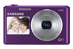 Samsung DV151F with Dual LCD, Wi-Fi, 5x Optical Zoom Lens f = 4.5 ~ 22.5mm, 16.2MP Digital Camera (White)