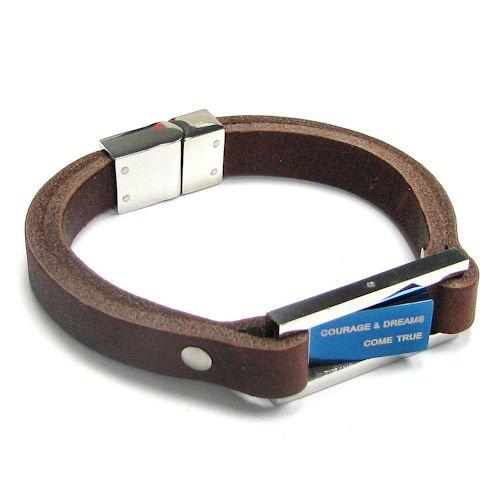 Stainless Steel (316L) Dreams Come True Dark Brown Flat Leather Cord 9.5mm Wristband Bracelet 8'' Men