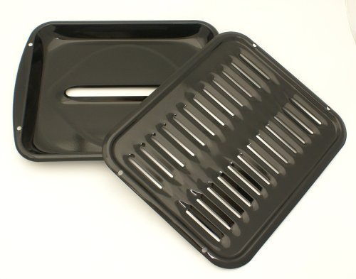 Porcelain Convection 12 7/8 by16.5 Inch Broiler Pan with Porcelain Grill