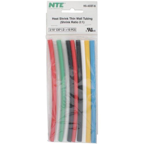 Nte Heat Shrink 2:1 Assorted Colors 3/16 X 6 10 Pcs.