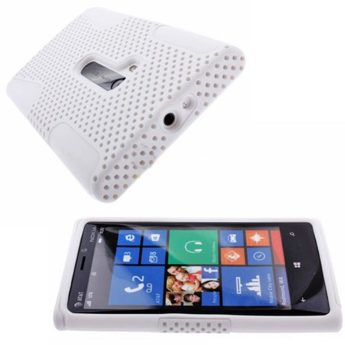 Mylife (Tm) Bright White Perforated Mesh Series (2 Layer Neo Hybrid) Slim Armor Case For The Nokia Lumia 920, 920.2, 920T And 920 4G Camera Smartphone By Microsoft (External Rubberized Hard Shell Mesh Piece + Internal Soft Silicone Flexible Gel + Lifetime