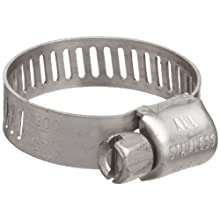 "Precision Brand M8S Micro Seal, Miniature All Stainless Worm Gear Hose Clamp, 7/16"" - 1"" (Pack of 10)"
