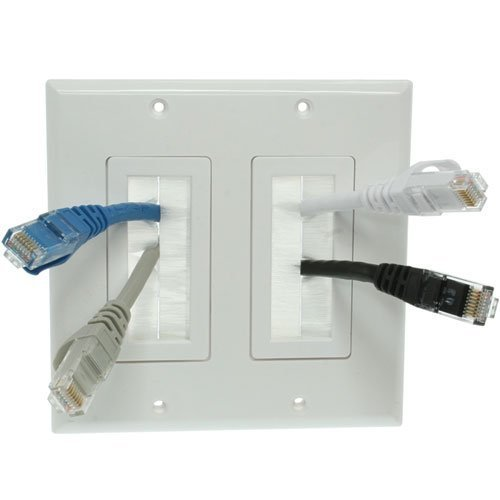Imbaprice® Dual Gang Wall Plate With Brush Bristles - White