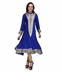 Clickedia Women's Georgette A line Blue Kurta with collar neck