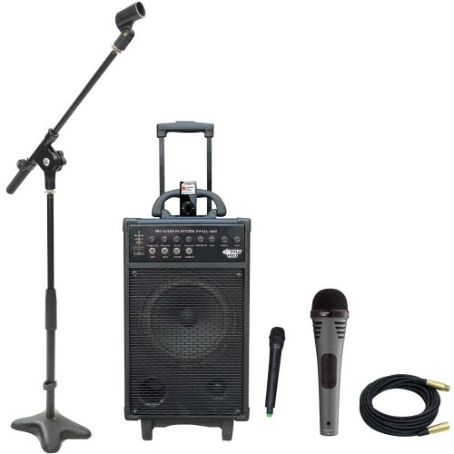 Pyle Speaker, Mic, Stand And Cable Package - Pwma860I 500W Vhf Wireless Portable Pa System /Echo W/Ipod Dock - Pdmik2 Professional Moving Coil Dynamic Handheld Microphone - Pmks7 Compact Base Microphone Stand - Ppmcl30 30Ft. Symmetric Microphone Cable Xlr