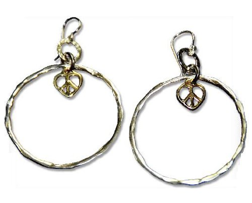 Two Tone (Silver and Yellow Gold) Hoop Earrings with Peace Heart