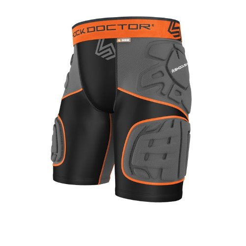 Shock Doctor Men'S Ultra Shockskin 5-Pad Extended Thigh Impact Shorts, Black/Grey, Small