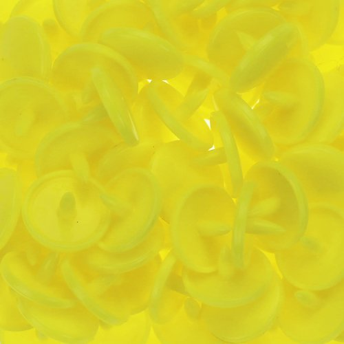 100 Glossy Yellow (B7) Round Kam Plastic Resin Snaps Craft Baby Bib Cloth Diaper