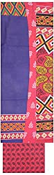 Shrumani Global Women's Cotton Unstitched Dress Material (SG016, Blue & Pink)