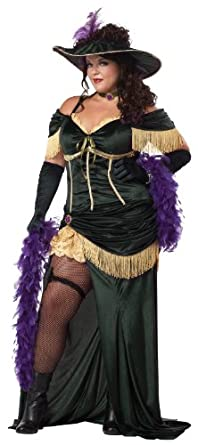 California Costume Collection Women's Saloon Madame Plus Size Costume Green/Gold XXL