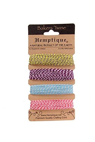 hemptique-bobine-de-ficelle-moyenne-en-coton-bakers-twine-2-plis-set-de-4-avril-azalee-multicolore