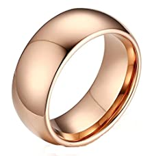 buy Mens Womens Wedding Band Stainless Steel Rose Gold Simple Bling Round 8Mm Size 9 By Aienid