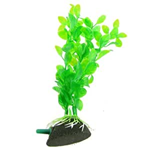 Aquarium Tank 7.5Green Manmade Plastic Plant w Bubble Release Air Stone