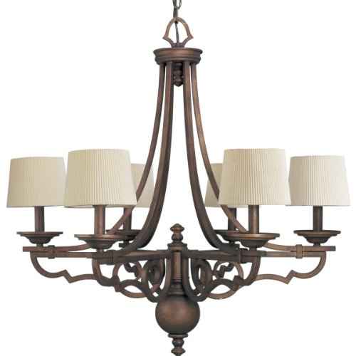B0014H8NPC Progress Lighting P4567-102 6-Light Meeting Street Chandelier, Roasted Java