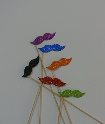 Mustache on a Stick 6 Rainbow Color Photo Booth Props