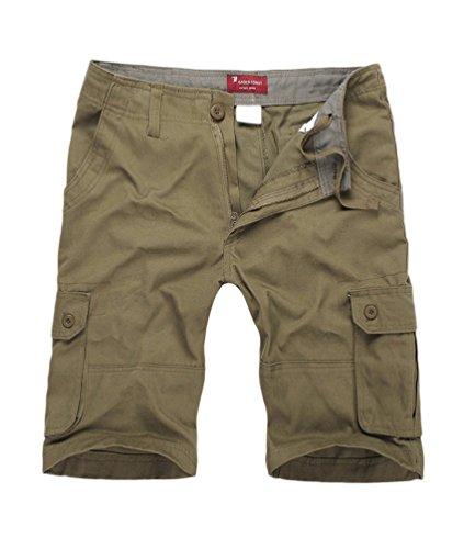 NiSeng Uomo Estate Pantaloni corti Vintage Shorts - Bermuda Cargo short con tasconi laterali giallo esercito 40