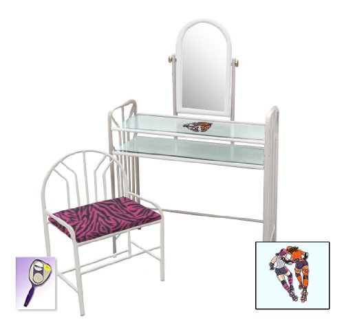 New Roller Derby Girls Themed White Finish Make Up Vanity Set With Adjustable Mirror And Bench With Your Choice Of Seat Cushion Theme! Also Includes Free Hand And Purse Mirror! front-1006719