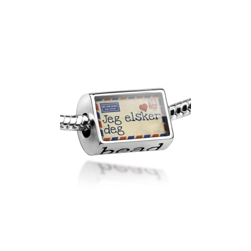 Beads I Love You Norwegian Love Letter from Norway   Pandora Charm & Bracelet Compatible