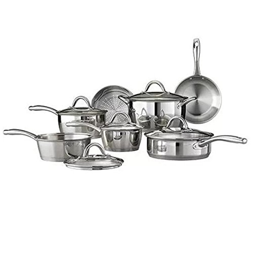 12 Piece Tri Ply Clad Cookware Set Stainless Steel Silver