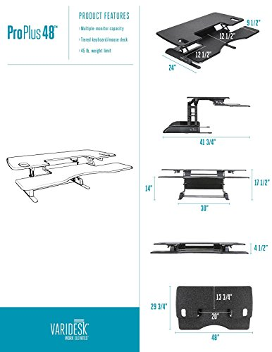 Varidesk Height Adjustable Standing Desk Pro Plus 48