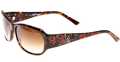 Ed Hardy Long Stem Roses Sunglasses Tortoise Brown Gradient 59 15 130
