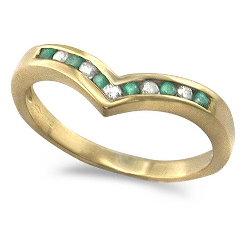 9ct Yellow Gold Ladies Emerald and 10pts of Diamonds Set Wishbone Ring Size - L