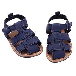 Voberry® Baby Boy\'s Summer Sandal Toddler Scrub Leater Prewalkers Sandal (12~18 Month, Navy)