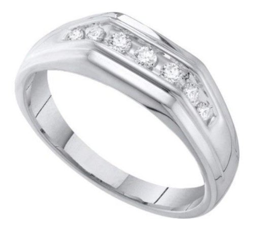 0.25 Cttw 10K White Gold Seven 7 Stone Round Diamond Channel Set Mens Wedding Ring Band (Sizes 8-13)