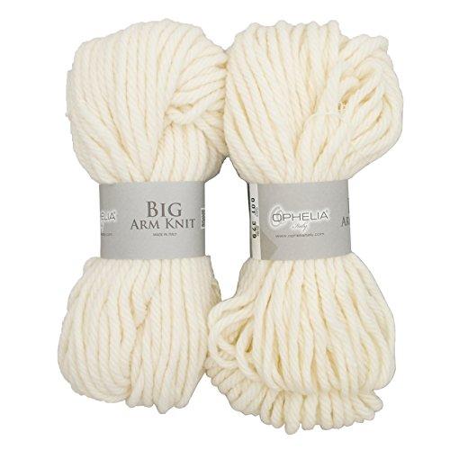 Ophelia Italy BigArmKnit001 - Gomitolo con filo spesso, 70% acrilico, 30% lana vergine, confezione da 2 x 100 g, bianco