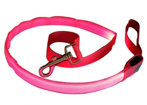 Pink Nylon Webbing Dog Leash With Super Bright Pink Fiber Optical Led Lights, Multi-Functional, Washable And Lightweight