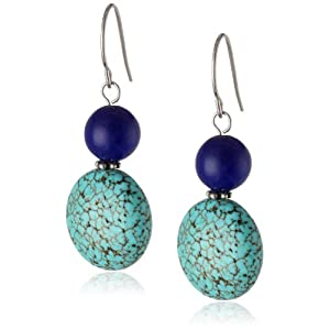 Sterling Silver, Simulated Lapis, and Simulated Turquoise Drop Earrings, 1.5