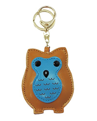 Young & Forever Cute Owl Handmade Leather Bag Charm Key Ring & Keychain Brown By CrazeeMania