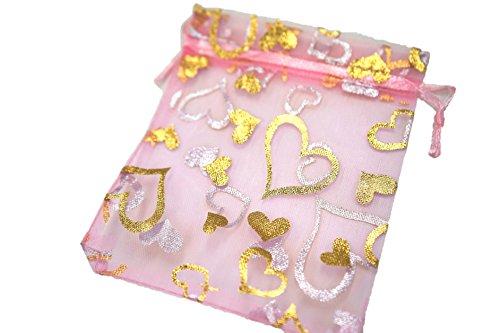 ギフト ・ 包装 用 オーガンジー 巾着 袋 9 * 12cm 100 枚 ハート 柄 (ピンク)