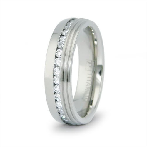 Eternity Titanium Rings with CZ 6.5mm (Size 10) Available Size: 8, 9, 10, 11